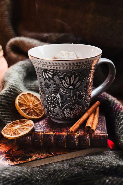 ~ Autumn ~ Blood Orange Tea, Cinnamon and leather-bound classics. . .