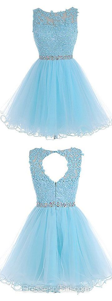 Light Blue Prom Dress, Short Prom Dresses, Tulle Homecoming Dress, Sweet Homecoming Dresses, Open Back Cocktail Dress