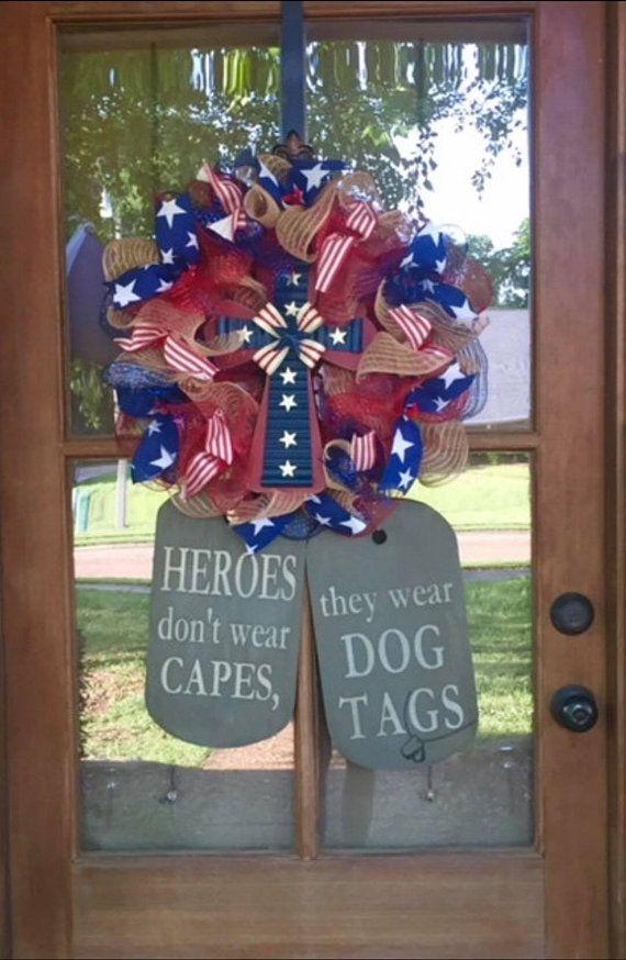 Military Family Dog Tag Wreath Door Hanger Proud