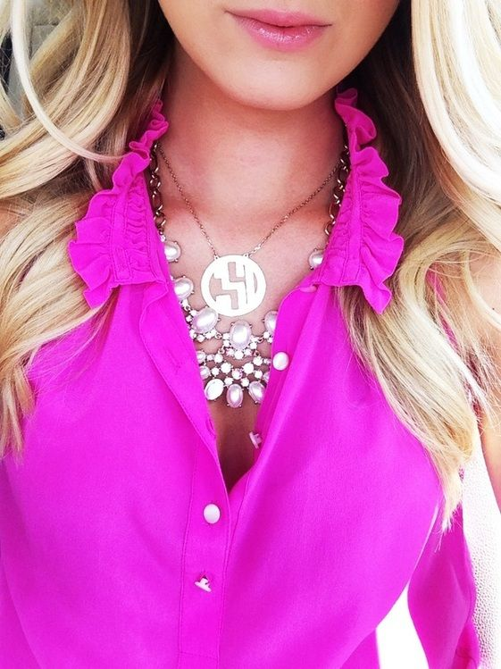 Pink shirt and 2 necklaces. Love