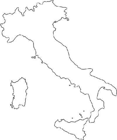 Mapa de Italia Dibujo para colorear
