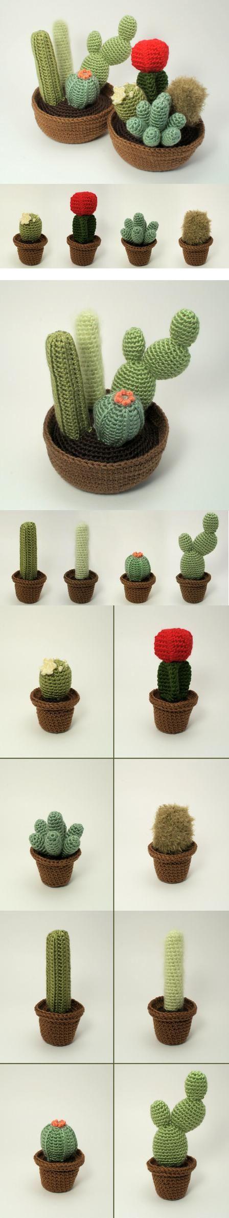 Enfin des cactus que je ne ferais pas mourir... http://www.planetjune.com/blog/cactus-collection-crochet-patterns/