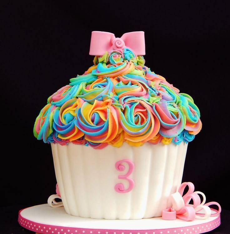 Rainbow Buttercream Giant Cupcake  on Cake Central