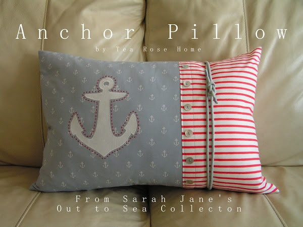 Tea Rose Home: Out to Sea DIY Blog Tour/ Tutorial~ Anchor Pillow for the blue boys' bedroom