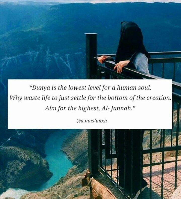 Dunya= this world Jannah= paradise