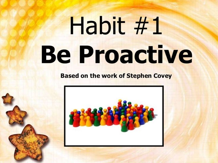 Be Proactive 1: Slide show to demonstrate (shaken soda=reactive, water bottle=calm, carry your own weather, etc.)