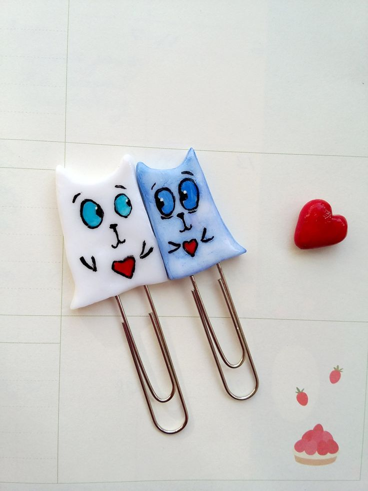 Enamored Cats Clip Planner Valentines Day Gift Cute paper clips funny bookmark funny paper clips Bookmark Organizer Planner Accessory (10.00 USD) by HolgaArt