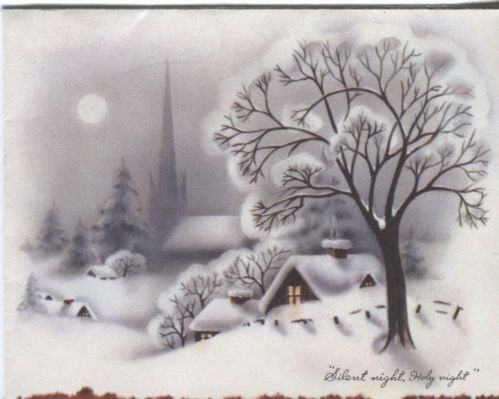 Vintage Christmas Card - Village Church in the Snow