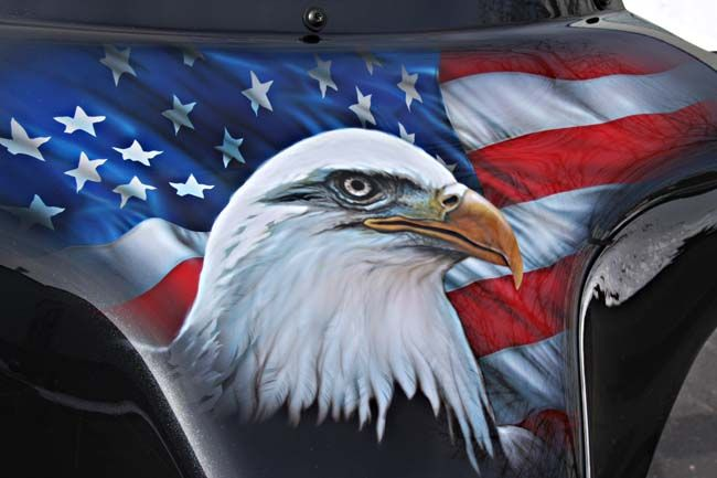 Motorcycle Graphics Eagle And Flag On Fairing Custom
