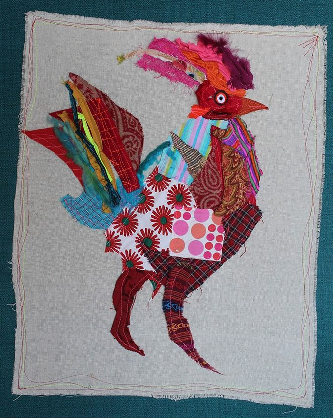 Gallo telas recicladas Co-ser Arte textil