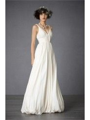 Cotton V-Neckline Waist-nipping Bodice Wedding Dress