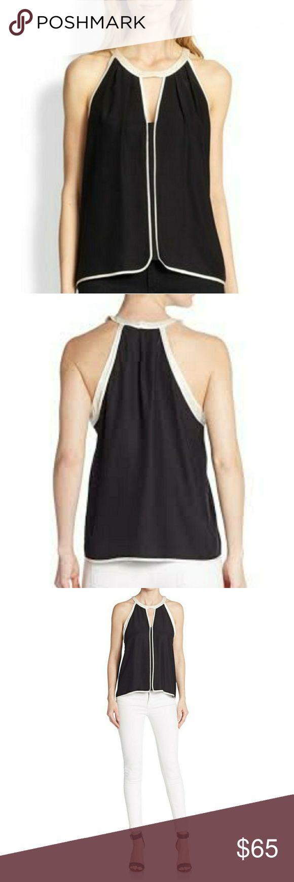 Parker Eli Black & White Silk Tank Top Super pretty! Love this! Too small for me!  Runs true to size.   • Round neck with V-Cutout  • Back keyhole with two hook and eye closure  • 100% Silk  • Imported  • Dry Clean Parker Tops Tank Tops