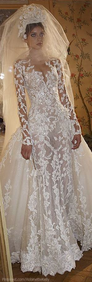 Ok she looks like a stunned mullet..but the wedding dress is divine. Zuhair Murad Haute Couture | F/W 2013