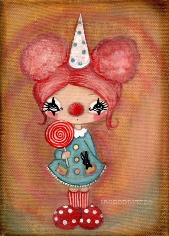 Clown Art Lollipop Birthday Girl Pink Candy Clown by thepoppytree, $12.00