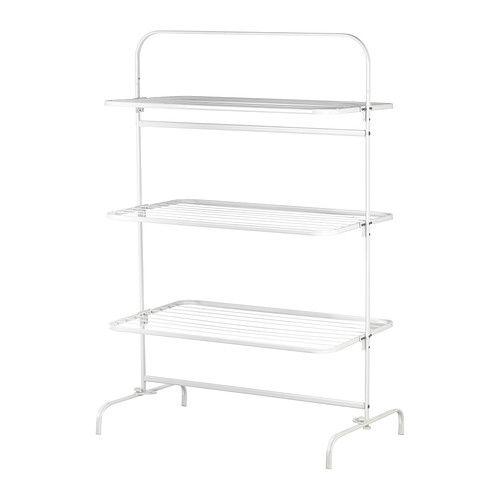 MULIG Droogrek 3 lagen, binnen/buiten IKEA Voor binnen en buiten. Ideaal voor beddengoed en grote handdoeken omdat het droogrek extra breed is.
