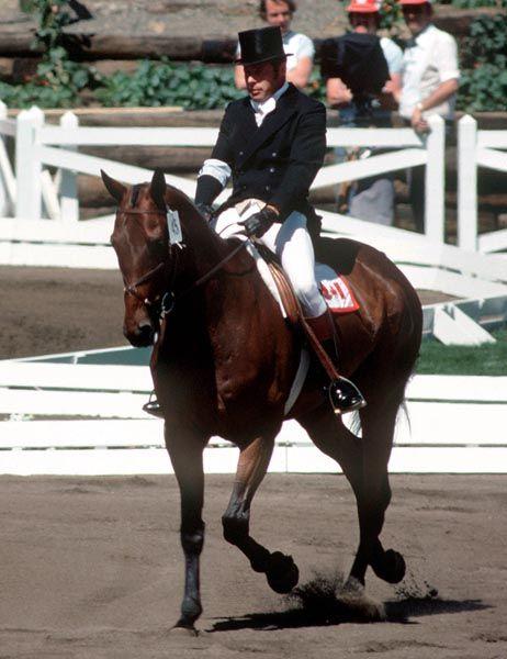 Robin Hahn du Canada monte L'Esprit aux sports équestres aux Jeux olympiques de Montréal de 1976. (Photo PC/AOC)