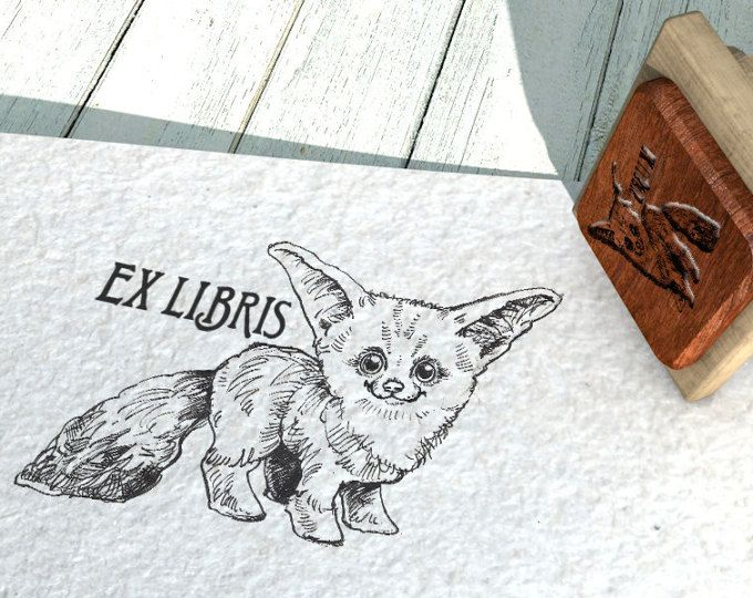 "EX LIBRIS Stamp ""Deset Fox"", Name Stamp, Gift Stamp, Logo Stamp, Custom Rubber Stamps 50x40 mm"