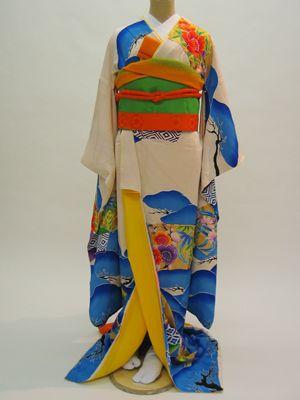 結び屋 長岡 新潟 婚礼衣装、アンティーク着物・引振袖、オーダーウエディングドレス、レンタル~アンティーク着物《結婚式用レンタル振袖》「水色扇面」~