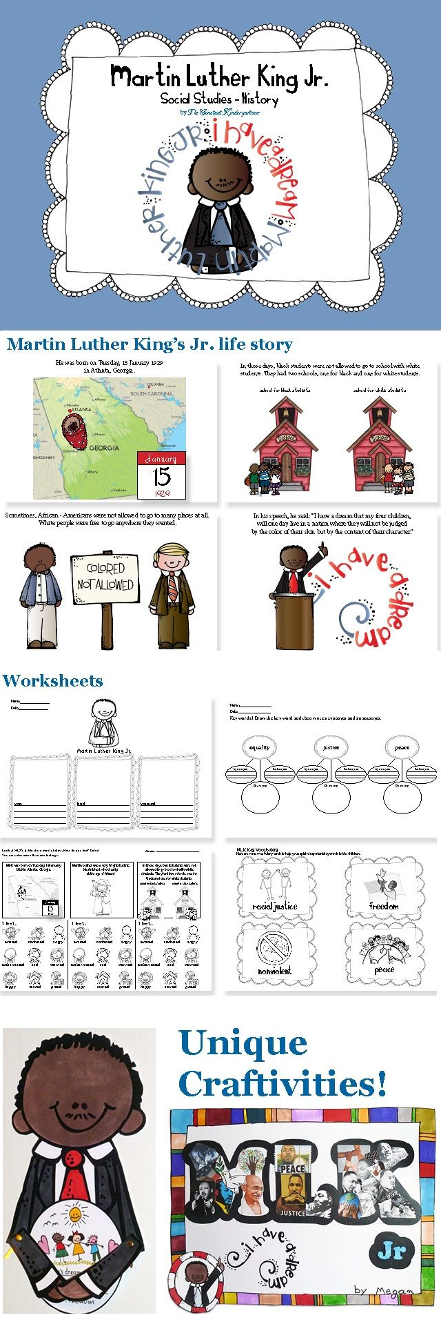 Martin Luther Kings Jr History For Children In Kindergarten And First Grade With Literacy Worksheets