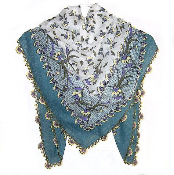 Traditional Turkish Yemeni Cotton Scarf With Lace, Green / Yellow / Purple Floral Pattern $28.00 USD