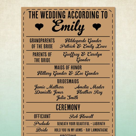 Funny Wedding Program His And Her Perspective On The Day Check It Out