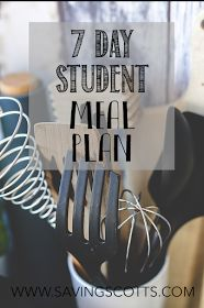 7 Day student meal plan. Looking for simple, healthy low cost recipes perfect for the busy student. Well look no further. we have put together a collection of some of our favourite recipes, designed for cooking for one.