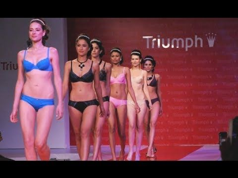 "Triumph fashion show.''beautiful babes"" on ramp"