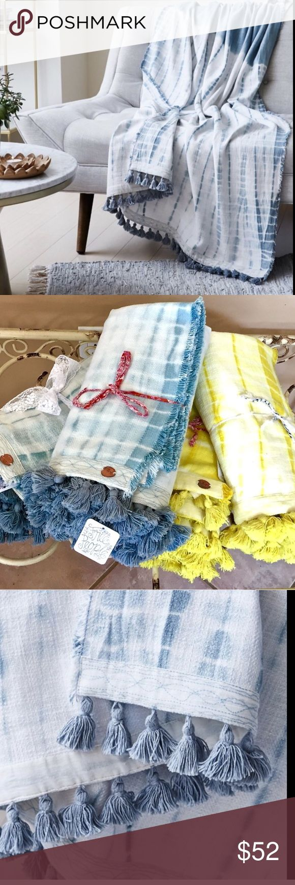 "Free People blue white Large Beach Towel Blanket Free People blue white Tie Dye Extra Large Beach Towel Blanket Throw Tassel Trim  Hand dyed super soft cotton beach towel / blanket / throw with tassel edging New With Tags    * due to the hand dyed technique, each towel will be slightly different   100% cotton  42""W  x  62""L  Check out my other items! Be sure to add me to your favorites list! Free People Accessories Scarves & Wraps"