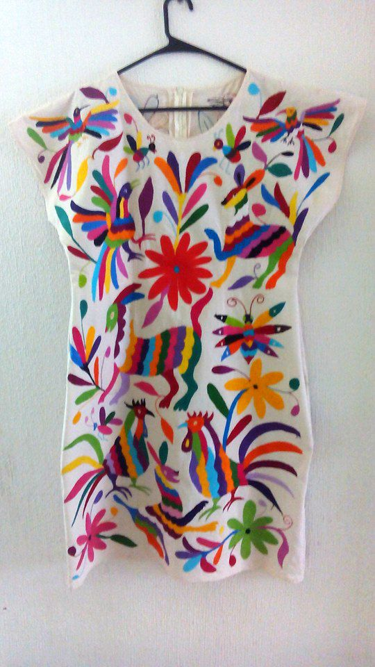 Impresionantemente Vestido blanco multicolor Novia Otomi