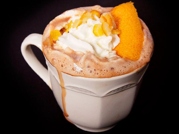 Rich hot chocolate with orange, Grand Marnier, and pisco—like a foil-wrapped chocolate orange, but better.