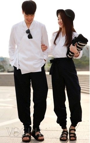 couple outfit in modern hanbok style