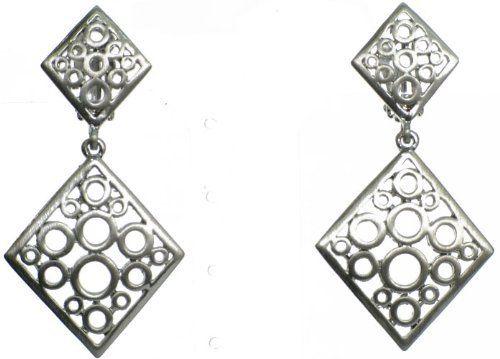 Modern Silvertone Circle Dangle Clip On Earrings WhimZ Girl Clip  Earrings. $24.00. 1.25 in Wide. 2.25 in Long. Modern Silvertone Circle Dangle Clip On Earrings