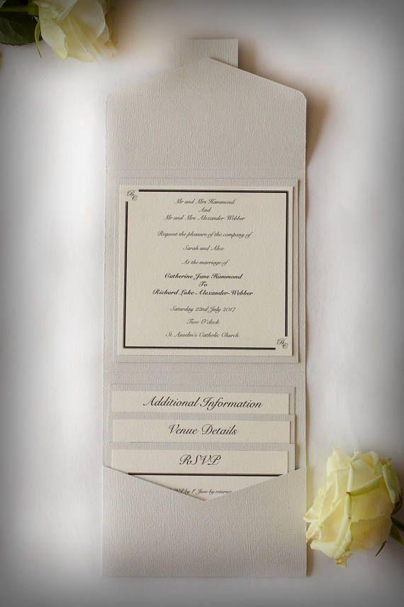 in wedding invitations is the man s name first%0A Elegant Dove Grey Pocketfold Wedding InvitationPersonalised Monogram