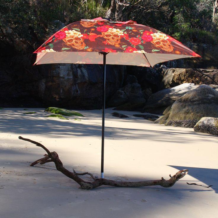 2m Duchess & Deco Garden Umbrella in Hawaiian Skulls design. #duchessanddeco #customgardenumbrella  #bespokegardenumbrella #designergardenumbrella