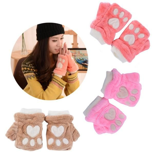 Women Girl Half Finger Warm Cat Claw Paw Plush Soft Winter Fingerless Gloves