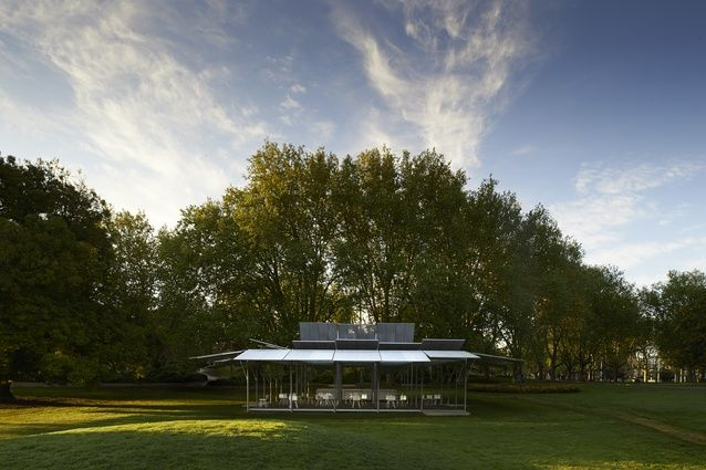 The MPavilion is conceived as a blooming flower, its 'petals' opening up at daybreak.