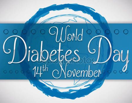 Blue Circle in Brushstrokes and Blue Ribbon for Diabetes Day