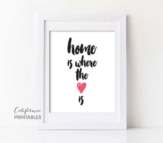 ♥ Inspirational Printable Art - Home is Where The Heart Is  ♥ This is an INSTANT DOWNLOAD that contains a JPEG file.  * Printable art image size: 8 inches x 10 inches (Need a different size? just include the request in the note to seller at checkout.) * Printable art file format: high-resolution JPEG, 300 dpi * You can print this file at home or local and online print studios. (PLEASE NOTE: Colors vary depending on the printer and/or printing service.) * Perfect gift for nursery, new home…