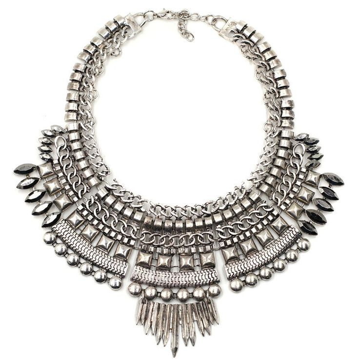 Fashion Chunky Collar Bib Spike Choker Pendant Silver with Gunmetal Stone Accents