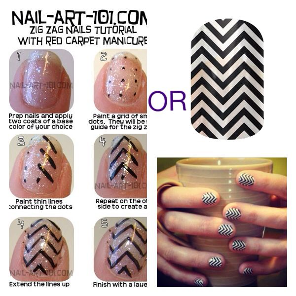 You could spend your afternoon following the tutorial on the left, only to be disappointed by how shaky your lines are.....OR you could order Jamberry chevron wraps, apply in less than 20 minutes and get compliments from all your friends! heathermailo.jamberrynails.net