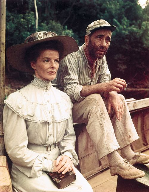 Katharine Hepburn and Humphrey Bogart on the set of THE AFRICAN QUEEN ~ filmed on location in Africa.