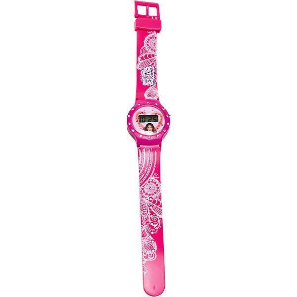 Für alle Violetta-Fans wird das Uhrzeit ablesen zum funkelnden Vergnügen. Auf der Umrandung der Uhr sind kleine Strasssteine eingelassen.<br /> <br /> Das Armband hat einen Dornverschluß.<br /> <br /> Batterie (LR44) enthalten.<br /> <br /> Armband - Länge: 21 cm, Kunststoff<br /> Unsere Entsorgungshinweise zu Batterien und Elektrogeräten finden Sie auf http://www.mytoys.de/c/entsorgungshinweise.h...