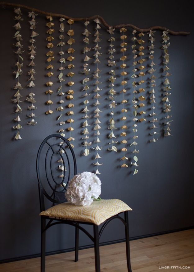 Anthropologie DIY Hacks, Clothes, Sewing Projects and Jewelry Fashion - Pillows, Bedding and Curtains - Tables and furniture - Mugs and Kitchen Decorations - DIY Room Decor and Cool Ideas for the Home | Cascading Paper Flower Garland | http://diyprojectsforteens.com/diy-anthropologie-hacks