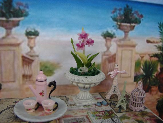 Dollhouse Miniature Beautiful White Urn Planter with Orchids