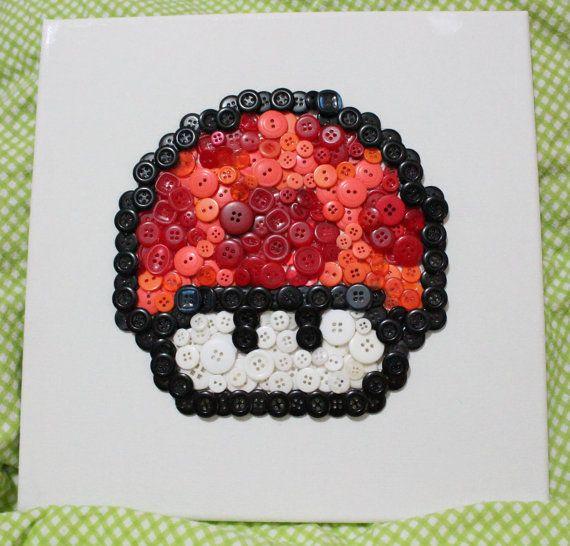 8bit Button Art  Super Mario Mushrooms by LittleBlobOfGreen