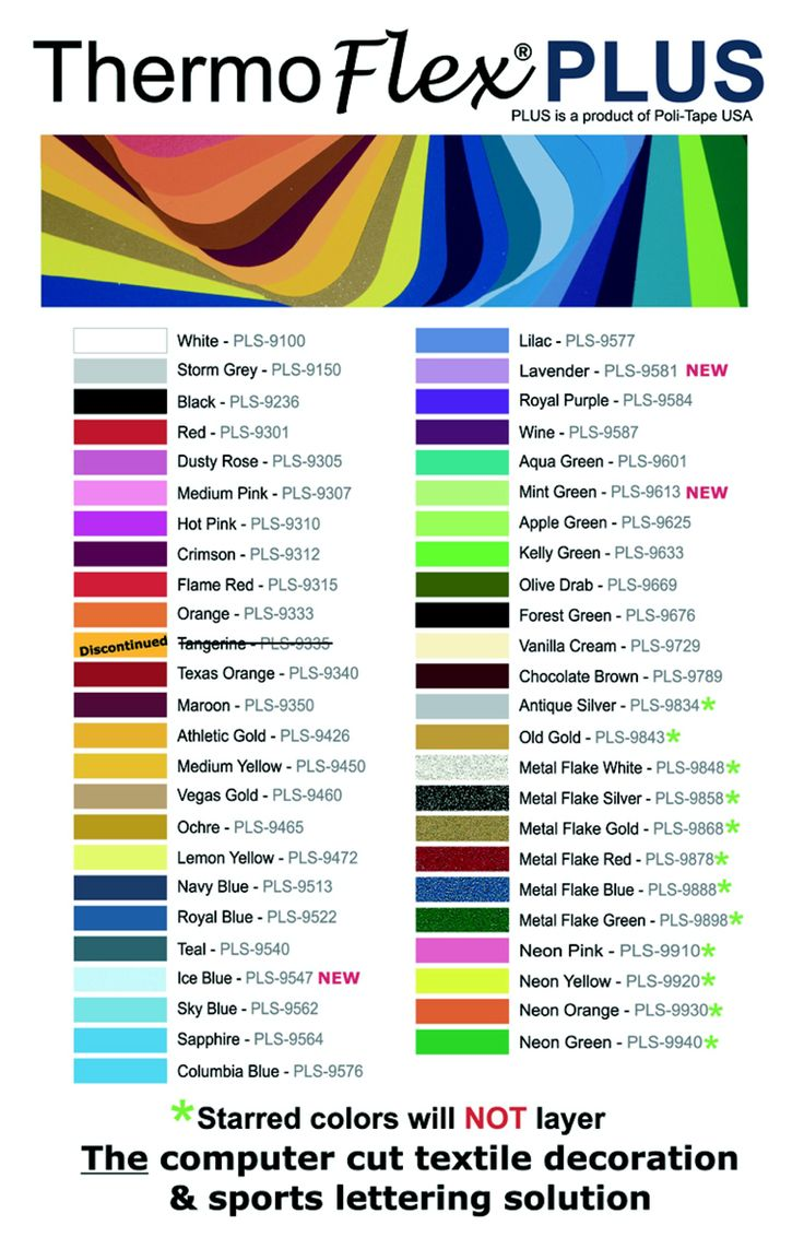 Color Chart Thermoflex Plus Color Chart Rayco Sign