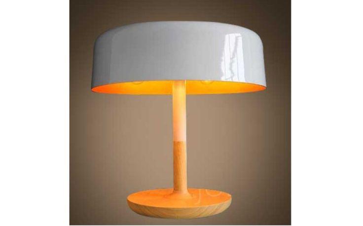Modern Wood Mushroom Table Lamp – Flat Top