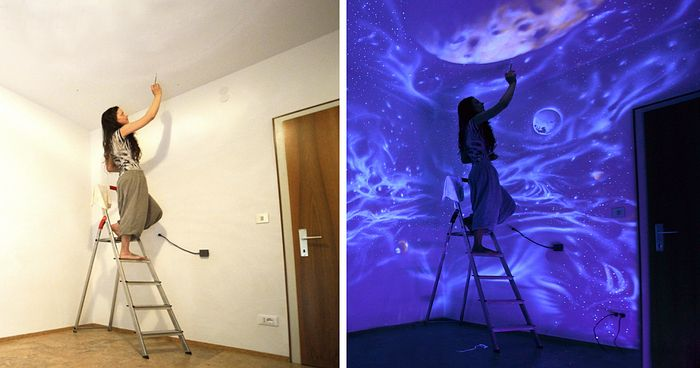 When The Lights Go Out, My Glowing Murals Turn These Rooms Into Dreamy Worlds   Bored Panda