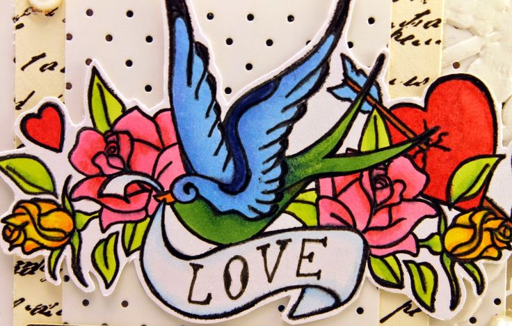 Love stamp coloured with pro markers