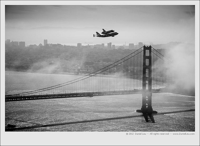 Space Shuttle Endeavour over SF with Golden Gate Bridge by Daniel Leu, via Flickr